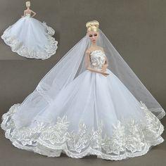Hohe qualität handgefertigte geschenke für mädchen dünnes abendkleid anzug hochzeit kleid kleidung für barbie 1:6 puppe bbi00155