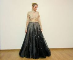 Items similar to Black Nude Soft Tulle Maxi Full Skirt Lace Body Dress with Rhinestones on Etsy Lace Body, Prom Dresses, Formal Dresses, Tulle, Trending Outfits, Skirts, Black, Fashion, Dresses For Formal