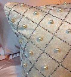 Neoclassical Beige Velvet Pearl Handmade Rhinestone Sofa Pillow Cushion BM4194