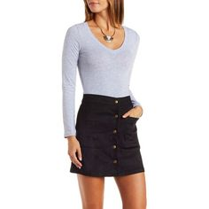 Charlotte Russe Heather Gray Basic V-Neck Top by Charlotte Russe at... ($9.99) ❤ liked on Polyvore featuring tops, heather gray, bodycon top, v neck pullover, long sleeve pullover, sweater pullover y charlotte russe