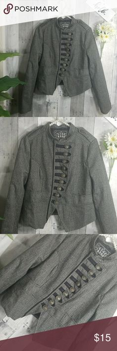 Last Kiss crop Blazer Gray cropped blazer Has 9 buttons all work  Side pockets  Vintage look  Good condition Jackets & Coats Blazers