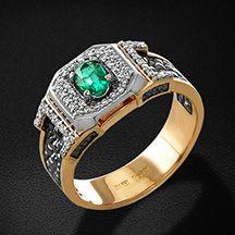 167f374698e3 Мужское кольцо с бриллиантами, изумрудом из красного золота 585 пробы (арт.  36275)