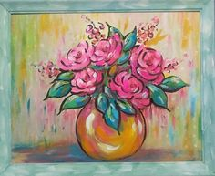 New (never used) - Original acrylic abstract roses, framed art 24x20 fuscia, pink, turquoise pastel frame, makes a great gift, not a copy or a print, my original art work created and signed by me local artist Yvette Andino