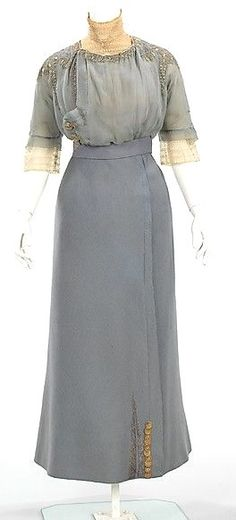 Walking suit (a–c) House of Paquin  (French, 1891–1956) Designer: (a–c) Mme. Jeanne Paquin (French, 1869–1936) Designer: (d) Thurn (American) Date: spring/summer 1910 Culture: French Medium: wool, metal, silk