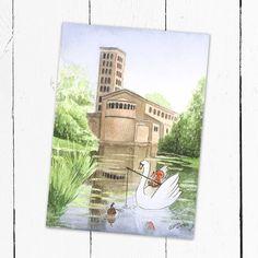 """Kinderpostkarte: """"Der Schwan an der Friedenskirche""""  Eine wunderschöne einzigartige Postkarte oder Grußkarte zum Sammeln, verschenken oder verschicken.  Im Original wurde das Bild mit Aquarellfarben auf Aquarellpapier gemalt, folgend digitalisiert und als Postkarte auf Carta Integra Papier gedruckt."""