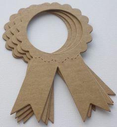 4 AWARD RiBBONS Raw CHiPBOARD Bare Die Cuts by GlitterDustDesigns, $1.25