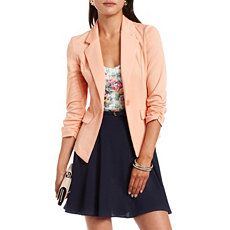 Ponte-Knit Ruched Sleeve Blazer at Charlotte Russe