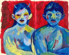 don't call me nice + me and michael (yes i've been listening to mgmt) / ink & acrylic in sketchbook Post Impressionism Art, Sketchbook Inspiration, Sketchbook Ideas, Arte Sketchbook, Funky Art, Ap Art, Cool Paintings, Horror Art, Creative Art