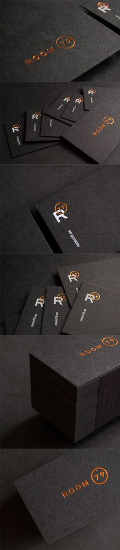hard to go wrong with the sharp contrast of high shine copper foil on a matte black card stock. Foil Business Cards, Business Card Maker, Unique Business Cards, Corporate Design, Business Card Design, Identity Design, Logo Design, Web Design Mobile, Name Card Design