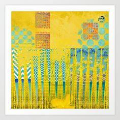 Yellow & Turquoise Abstract Art Collage Art Print by Sheree Joy Burlington…