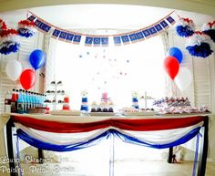 Using red white and blue to decorate for an election fundraising campaign or any patriotic celebration will really have your guests talking! Election Night Party, Election Day, Patriotic Party, Patriotic Decorations, Grad Parties, Holiday Parties, Goodbye Party, Fundraising Events, Fundraiser Event