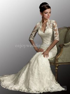 Wholesale Wedding Dresses - Buy 2012 Cheap New Sexy Designered V Neck Long Sleeves Mermaid Lace Stunning Wedding Dresses AB8900, $139.0 | DHgate