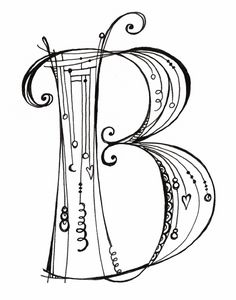 "This black & white ""B"" is part of the new Zenspirations Dangle monogram alphabet I created for my new book, Zenspirations Dangle Designs."