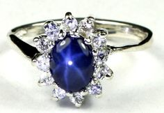 • SR235, Blue Star Sapphire, 925 Sterling Silver Ladies Ring -Handmade    eBay