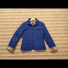 Burberry blue quilted jacket S great condition Like new! Beautiful jacket! Burberry Jackets & Coats Utility Jackets
