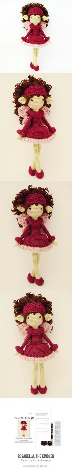 "Rosabella, The Kindler Amigurumi Pattern; 11.5"" tall with worsted weight yarn"