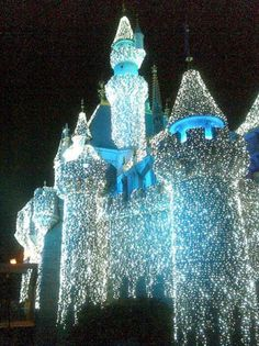 Sleeping Beauty Castle decorated for christmas at Disneyland Park.  Anaheim, CALIFORNIA.