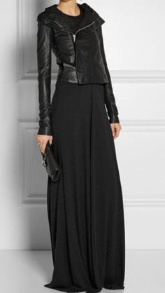 What to wear out tonight ? Try a black asymmetrical zip leather jacket and black maxi dress back to core closet pieces like earrings , a clutch , and heeled sandals :