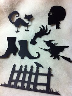 Items similar to Halloween Die Piece Set of Very Chic and Scary Halloween Icons Scrapbooking Embellishments on Etsy Halloween Icons, Halloween Scrapbook, Scary Halloween, Flying Witch, Paper Leaves, Paper Doilies, Green Paper, Romantic Roses, Scrapbook Embellishments
