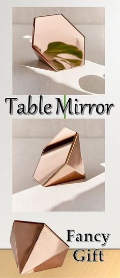 Mirror Pyramid Hexagon Geometric Table Style Interior Home Room Living Decor Rose Gold Desk Vanity Paper Weight Beauty #ad #gift