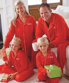From CWDkids: Personalized Stripe Trim Pajamas & Matching Adult Pajamas. Christmas Onesie, Christmas Sweaters, Christmas Time, Christmas Clothes, Christmas Outfits, Christmas Vacation, White Christmas, Christmas Ideas, Xmas