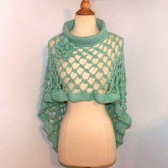 Boho Poncho Ocean Blue Cape Cowl Turtle Neck Shawl Long Capelet Irish Crochet Knit Freeform Crochet Small to 2X Plus Size