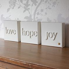 Wood letters glued to canvas and painted all the same color ...