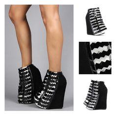 Black & White Nokea Wedge    #jeffreycampbell #jeffrey #campbell #shoes #fashion #trend #cool #cute #hot #fresh #love #black #white #monochrome