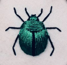 Embroidery, DIY, handmade, stitching, beetle, scarab, embroidery floss, bug, design, jewel tone, emerald green, forest green, hunter green Crochet, Bee, Insects, Embroidery, Handmade, Needlepoint, Tricot, Needlework, Hand Made