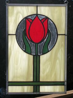 Crimson Tulip Stained Glass Panel
