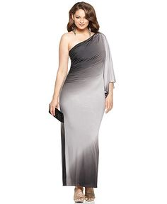 Onyx Plus Size Dress, Three Quarter Sleeve One Shoulder Ruched Ombre Evening Gown - Plus Size Dresses - Plus Sizes - Macy's