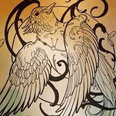 Siege Just drew this up. Available for YOU! Good price too.  #siege #siegeart #revivalartcollective #bird #swallow #artnouveau #victorian #tattoodesign #tattoo #art #illustration #phoenix