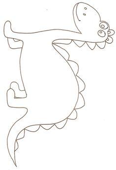 Imprimer le dessin d'un dinosaure à gros yeux à colorier Paper Crafts For Kids, Diy For Kids, Fun Crafts, Dinosaur Crafts, Dinosaur Art, Applique Patterns, Applique Designs, Coloring For Kids, Coloring Pages