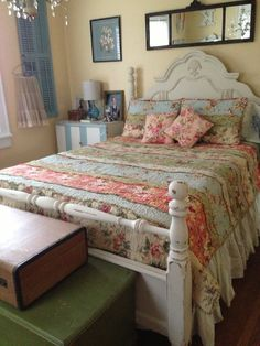 Cozy Cottage Bedroom Featuring An Annie Sloan Painted Bed, Vintage Cabinet  As A Bedside Table, And A Beautiful Antique Mirror.