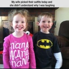 It took me a seconds to realize it- if you can't see it the little girl's shirt says Nana Nana Nana ( probably her grandma ) while brother's shirt says Batman. So it's the Batman theme song. Nananananananananananan BATMAN!