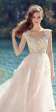 papilio 2017 bridal cap sleeves v neck heavily embellished bodice tulle skirt romantic blush color a  line wedding dress open low v back royal train (hornbill) zv