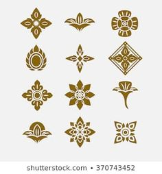 Thai ornament, Vector set of thai art design Pattern Images, Pattern Design, Logo Fleur, Thai Pattern, Thai Design, Truck Art, Thai Art, Vector Flowers, Stencil Art