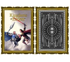 Ad card and card Back  #playingcards #fantasy #elves #dwarves #elven #dwarven #armor #king #queen #knight #jack #ordinator #kingdomsoferden #runes #kelticknot #eagle #skull #ram #scale #mail #shield #duel #scepter #sword #axe #crown #helmet #hearts #rose #red #diamonds #sigil #blue #feather #wing #thorns #clubs #clover #poisonivy #leaf #beard #spade #ace #juggler #jester #joker