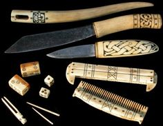 Modern reproductions of ancient Viking bone items.