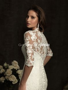 Mermaid Lace Half Sleeve Embroidery V-neck Draping Wedding Dress