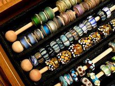 big hole bead display & storage-skewers, wooden beads on ends (1 side glued), bracelet display tray