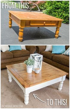Ugly orange coffee table from Craigslist, made into a beautiful two toned farmhouse style coffee table! This transformation is unbelievable! farmhouse furniture coffee table makeover fusion mineral paint square coffee table wood stained coffee t Refurbished Furniture, Farmhouse Furniture, Upcycled Furniture, Rustic Furniture, Painted Furniture, Outdoor Furniture, Bedroom Furniture, Furniture Ideas, Antique Furniture