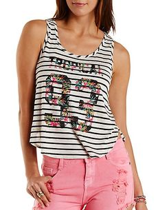 Tropical 93 Graphic Striped Tank Top: Charlotte Russe #graphictee