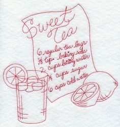 Sweet Tea (Redwork)