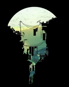 "Negative space, shapes, form ""this isn't happiness"" - (David Fleck), Peteski - illustration Art And Illustration, Illustrations, City Art, Landscape Silhouette, Silhouette City, Retro Poster, Art Graphique, Art Day, Concept Art"