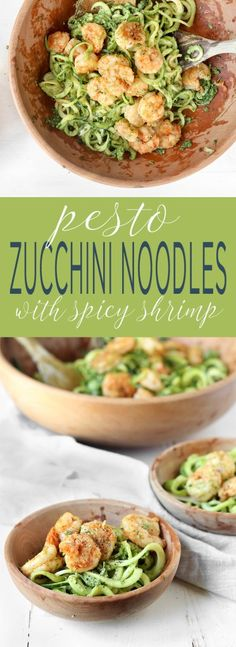 20 Minute Pesto Zucchini Noodles with Cajun Shrimp. A light whole-food Summertime throw-together meal, requiring just 20 minutes and 1 pan.