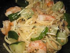 Shrimp Scampi with Zucchini - I still had some of the zucchini left over from my uncle so I threw this together. It was great on a hot summer day.