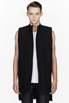 RAD BY RAD HOURANI Black crepe Layered Panel Unisex Vest