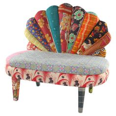 Mango wood bench upholstered with one-of-a-kind vintage kantha throws.   Product: ChairConstruction Material: Mango wo...