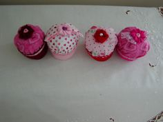 Fabric Cupcakes Tea Party Treats by Creativetouches1 on Etsy, $12.00 -I'm gonna make these myself! I think I can-I think I can-!!!
